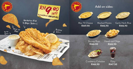 Featured image for The Manhattan FISH MARKET: RM9.90 nett for signature Manhattan Fish 'N Chips (Salmon) from 22 - 23 September 2020