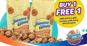 Featured image for Famous Amos: Buy-1-FREE-1 500g cookies in bag online till 15 Nov 2020