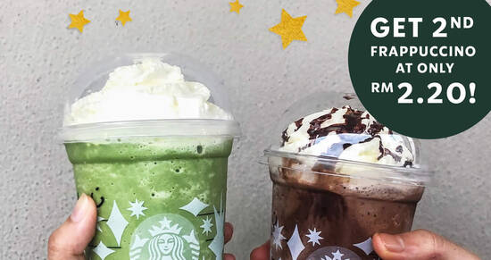 Featured image for Starbucks: Get a 2nd Frappuccino at RM2.20 with purchase of any Frappuccino on 17 Dec, 5pm - 8pm