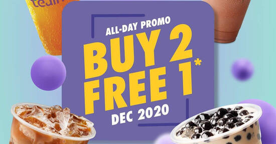 Featured image for Tealive: Flash this image to enjoy Buy-2-Get-1-Free deal all-day till 31 Dec 2020