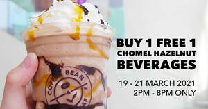Featured image for The Coffee Bean & Tea Leaf: Buy 1 Free 1 ChoMel Hazelnut Beverages promotion from 19 – 21 March 2021
