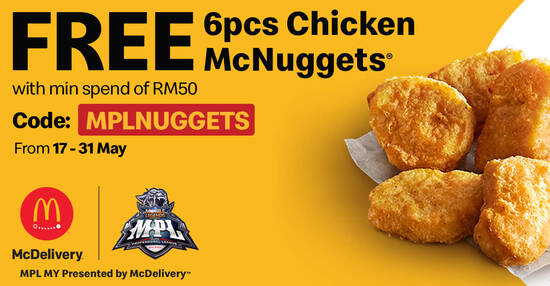 Featured image for McDelivery M'sia: FREE 6pcs Chicken McNuggets whenever you spend a minimum of RM50 till 31 May 2021