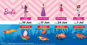 McDonald's M'sia latest Happy Meals now comes with a Barbie / Hot Wheels toy FREE till 7 Jul 2021