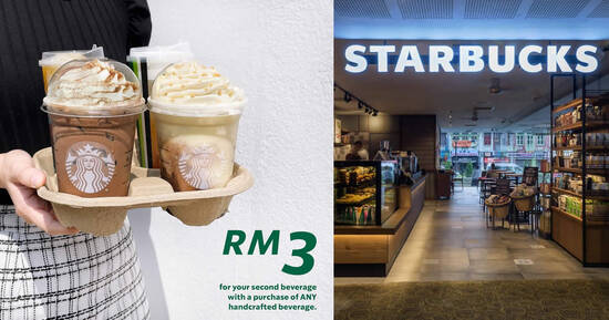 Featured image for Starbucks M'sia: Get the 2nd drink at RM3 this weekend from 31 Jul - 1 Aug 2021