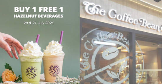 Featured image for The Coffee Bean & Tea Leaf M'sia: Buy 1 FREE 1 Hazelnut Beverages from 20 - 21 July 2021