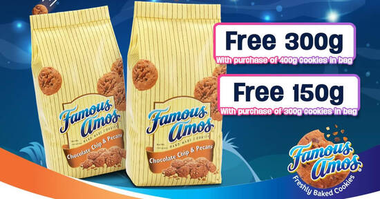 Featured image for Famous Amos M'sia: Buy 300g Get 150g FREE or Buy 400g Get 300g cookies in bag FREE online till 24 Aug 2021