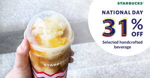 Featured image for Starbucks M'sia offering 31% off selected handcrafted beverage in celebration of Malaysia's historic day (30 Aug – 3 Sep)