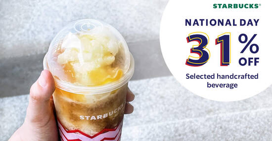 Featured image for Starbucks M'sia offering 31% off selected handcrafted beverage in celebration of Malaysia's historic day (30 Aug - 3 Sep)