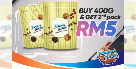 Featured image for Famous Amos: Buy 400g cookies in bag at normal rate and get your 2nd 400g cookies for only RM5 till 8 Oct 2021