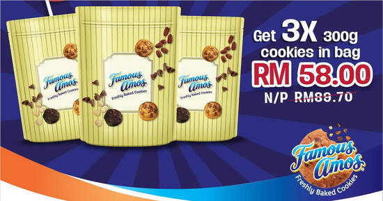Featured image for Famous Amos Malaysia Day Promo lets you buy 3 300g cookies in bag for RM58 (usual RM89) online till 16 Sep 2021