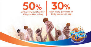 Featured image for Famous Amos: Get up to extra 50% cookies when you buy 200g or 300g cookies till 16 Sep 2021