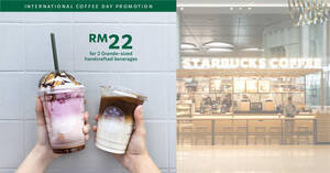 Featured image for Starbucks M'sia: RM22 for two Grand-sized handcrafted beverages on 1 Oct 2021