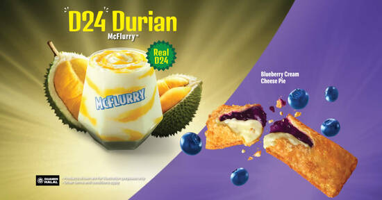Featured image for McDonald's M'sia brings back D24 Durian McFlurry and Blueberry Cream Cheese Pie from 14 Oct 2021